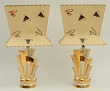 PAIR OF C. MILLER GLASS AND GILT LAMPS, DATED 1957