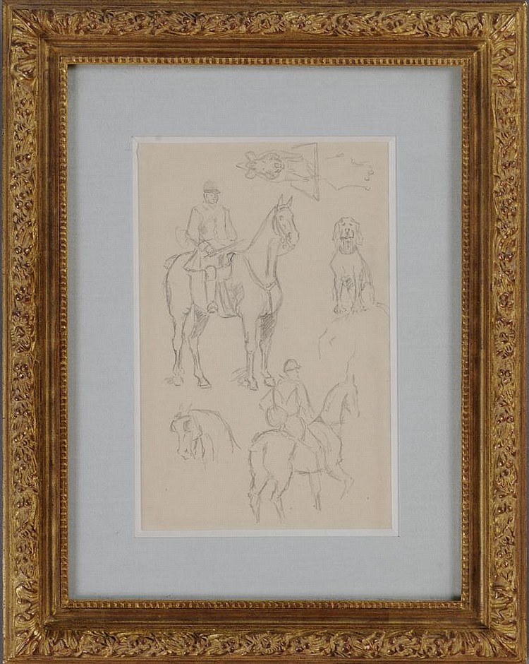 ATTRIBUTED TO TOULOUSE LAUTREC: FIGURES ON HORSEBACK (DOUBLE-SIDED)