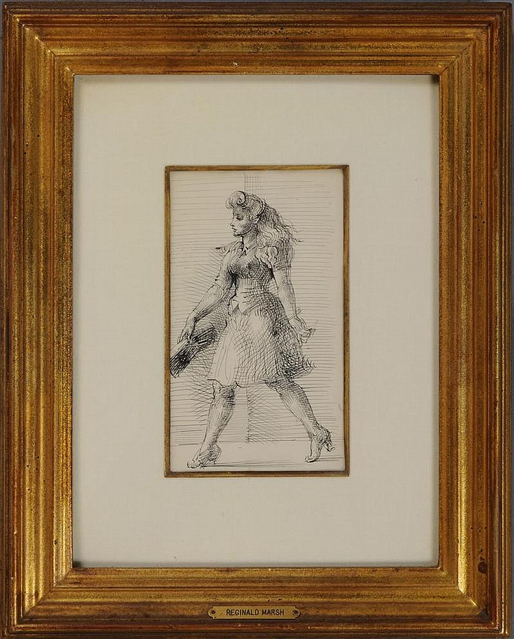 ATTRIBUTED TO REGINALD MARSH (1898-1954): YOUNG WOMAN WALKING