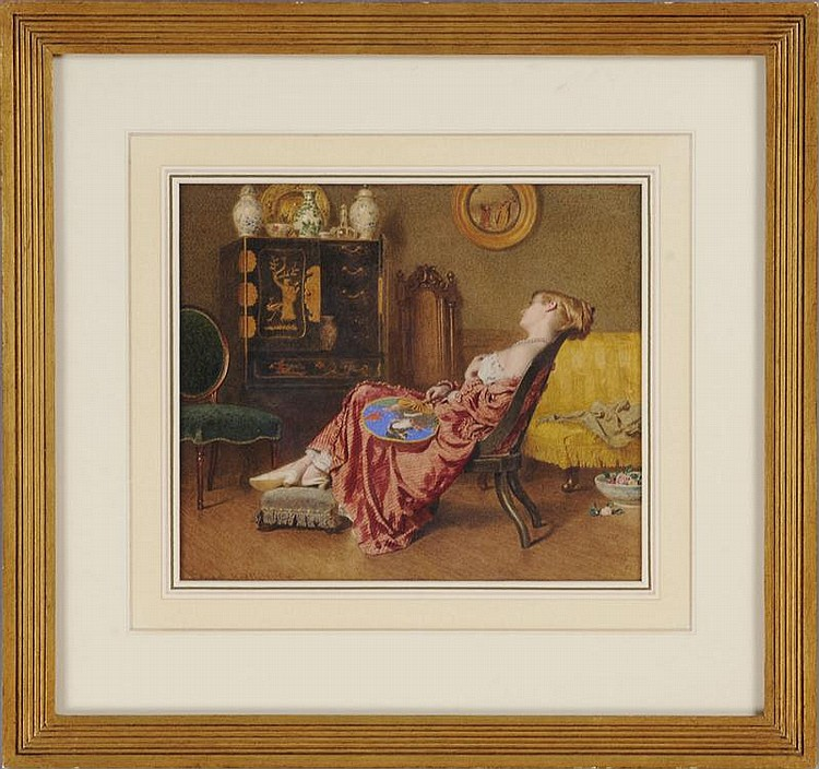 EDWARD RADFORD (1831-1920): ASLEEP IN A CHAIR