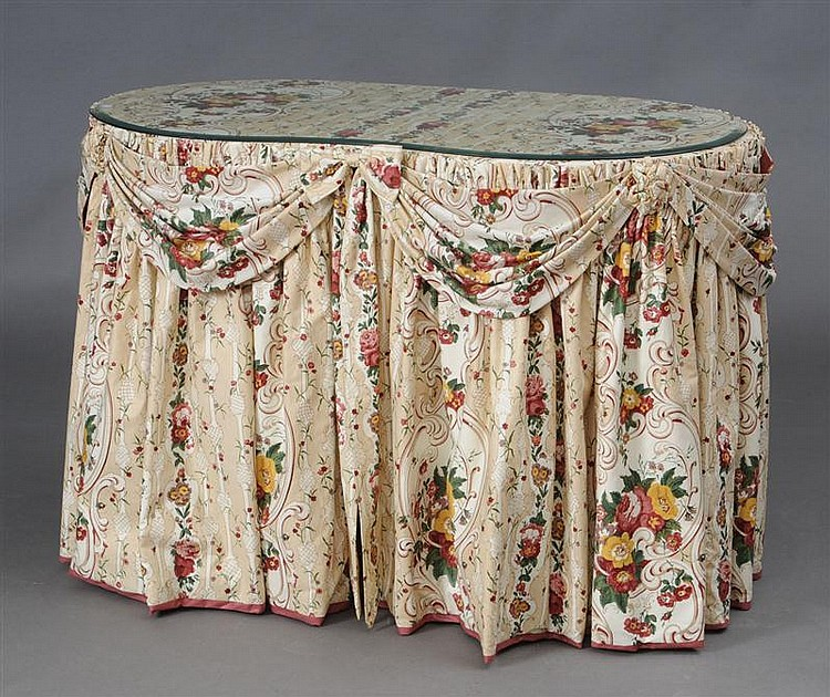 Floral Chintz Skirted Kidney Shape Dressing Table