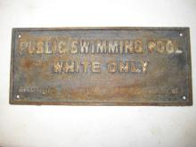 Black Americana, Iron Plaque, Swimming Pool White Only, Selma Ala.