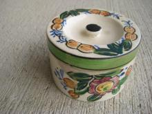 Hand Painted Floral Covered Powder or Trinket Bowl, Japan