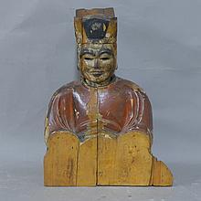 Japanese Carved Wood Figural Sculpture