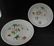 Pair of Chinese Qing Dynasty Famille Rose Plates