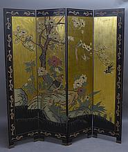 Black Lacquer and Polychrome Asian / Oriental Floor Screen