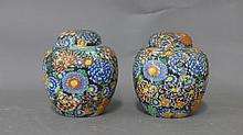 Pair Asian Porcelain Canisters