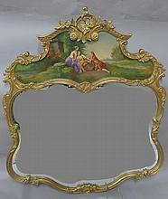 Carved Gilt Wood & Painted Mirror
