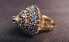 14k Gold and Sapphire Pagoda Cocktail Ring