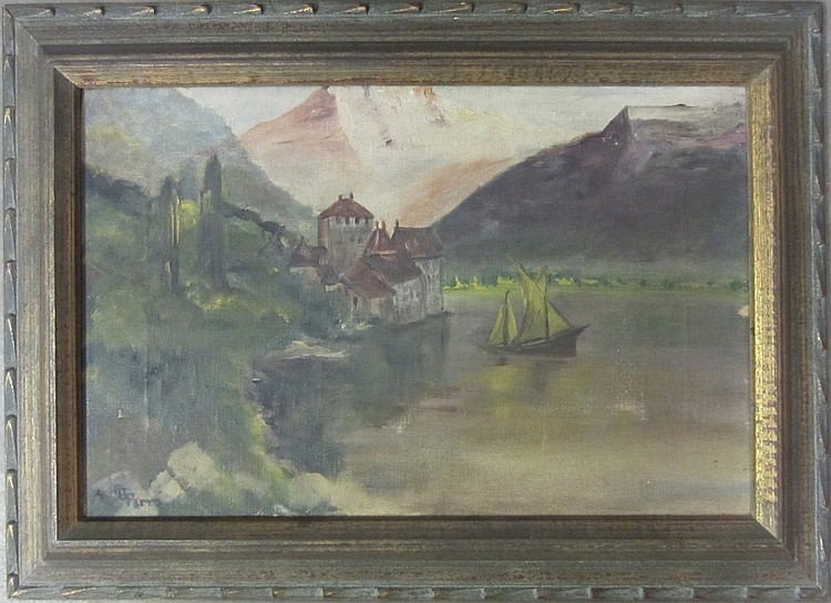 Signed Lake Scene w/ Sail Boat
