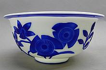 Blue and White Studio Art Glass Bowl