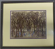 Signed Pastel Figural Landscape