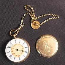 14K Gold Cylindre Huit Rubis Pocket Watch & Chain