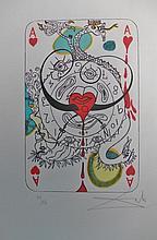 Heart Playing Card, Original Dali Lithogarph