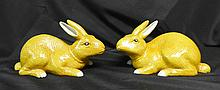 Pair Chinese Yellow Rabbit Sculptures