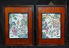 Pair Framed Famille Rose Plaques