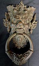 Large Patinated Bronze Door Knocker