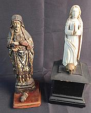 Two Figural Sculptures of Iconic Mother Mary