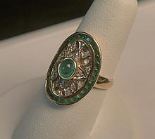 18K Yellow Gold Emerald and Diamond Ring