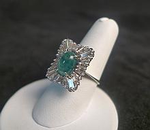 14 KT White Gold, Square Emerald & Diamond Ring