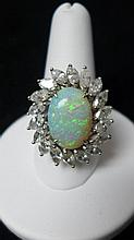 Diamond, Opal & 14 kt White Gold Cocktail Ring