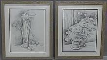 Pair of Floral Still Life Pencil Drawings