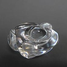 Steuben Glass Frog Figural Hand Cooler Paperweight