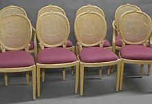 Set of 8 Carved Faux Bois Dining Chairs