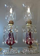 Pair of Electric Crystal Hurricane Lamps