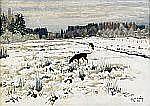 - HARALD WIBERG 1908-1986 Stövare i vinterlandskap