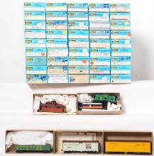 50 HO freight cars in Athearn boxes. reefers, pickles, TPM, Bev Bel, etc