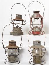 4 New York Central lanterns Adlake 250, Dietz Vesta, Hanlan,