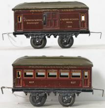 Two Bing O gauge Pennsylvania Lines passenger cars 501 617