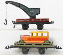 Bing O gauge 10 tons work crane & flat car with automobile