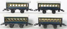 Four Bing O gauge second class passenger cars