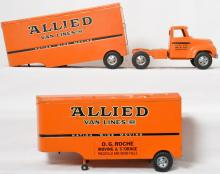1955 Tonka Allied tractor trailer set with two different trailers