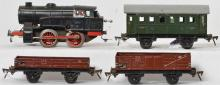 Fleischmann O gauge mechanical steam locomotive with rolling stock