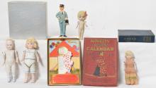 Four antique porcelain jointed arm dolls Japan Germany