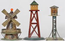 Three Germany tin tower toys