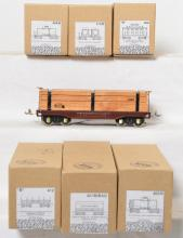 Six ETS O gauge rolling stock in OBs plus USTTC lumber car