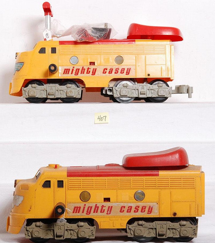 six ride on toys, two Remco Mighty Casey locos,