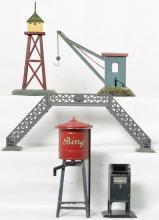 Nice group of Bing O gauge prewar tin train accessories