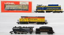 Lionel Chessie 8463, Chessie 8470, Virginian 8659, Reading 639 locomotives