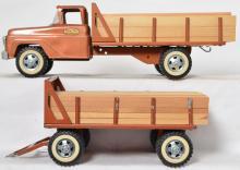 Vintage original Tonka bronze lumber truck with pup trailer