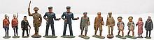 Eleven Lead Figures and Two Elastolin Figures Railroad And Military