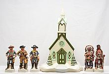 Byron Molds 1975 Ceramic Church and Porcelain Figures from Custers Battle
