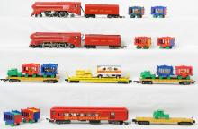 Group of American Flyer Circus locomotives, cars, and flats 353, 643, etc