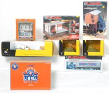 Lionel and K Line accessories operating back hoe, fork lift station, Rico station, etc