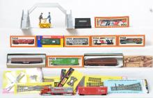 Large grouping of HO and N scale trains and scenery