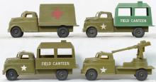 Pyro military field canteens, ambulance, and truck with aircraft gun